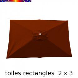 Toile de remplacement pour parasol rectangle 2x3 Rouge Terracotta vue de dessus