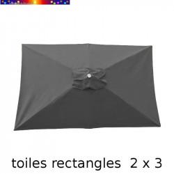 Toile de remplacement pour parasol rectangle 2x3 Gris Souris vue de dessus sur fond blanc