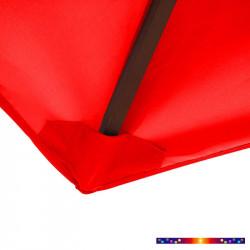 Toile de remplacement pour parasol rectangle 2x3 Rouge Coquelicot : détail de la fixaton basse de la tile avec fourreau