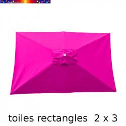 Toile de remplacement pour parasol rectangle 2x3 Rose Fushia vu de dessus