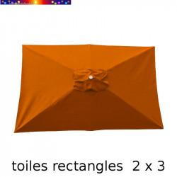 Toile de remplacement pour parasol rectangle 2x3 Orange Capucine vue de dessus