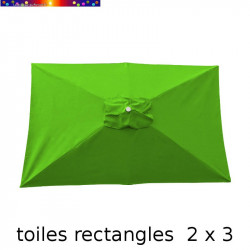 Toile de remplacement pour parasol rectangle 2x3 Vert Lime vue de dessus