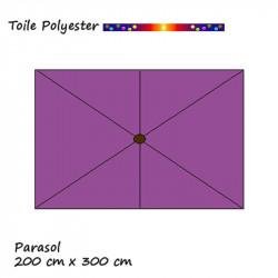Toile de remplacement pour parasol rectangle 2x3 Violette: position des baleines
