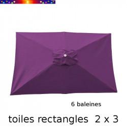 Toile de remplacement pour parasol rectangle 2x3 Violette fond blanc