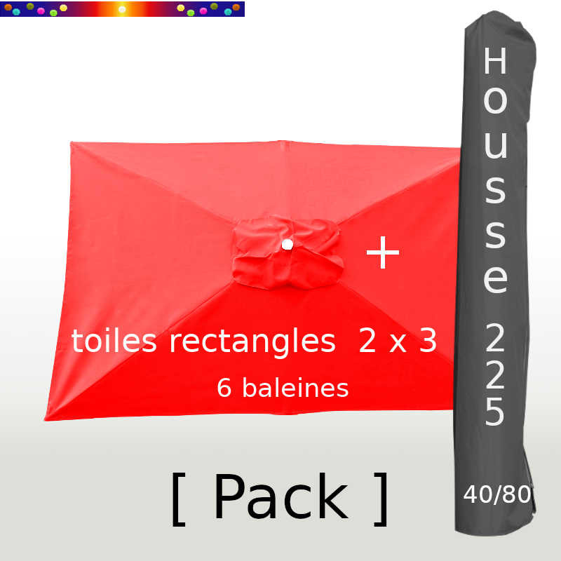 Pack : Toile 200x300 Rouge Coquelicot + Housse 225/40