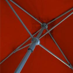Parasol Lacanau Rouge Bordeaux 200 cm x 200 cm Aluminium : détail du système d'ouverture