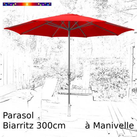 Parasol Biarritz rouge coquelicot 300 cm alu manivelle