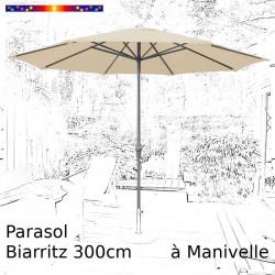 Parasol Biarritz Ecru 300 cm alu manivelle