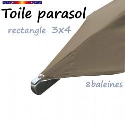 Toile Chamois pour parasol rectangle 3x4 : détail de la fixation de la toile en bout de baleine