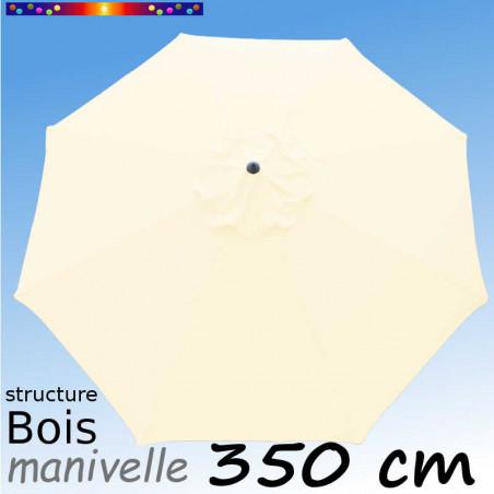 Parasol Lacanau Écru Crème 350 cm structure Bois et manœuvre par manivelle