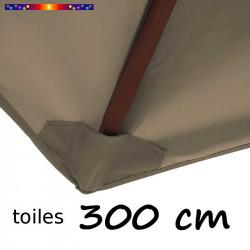 Toile de remplacement pour parasol 300 cm couleur Chamois : fourreau coté bas de la baleine