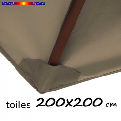 Toile polyester pour parasol carré 200x200 cm couleur Chamois : coté bas de la baleine