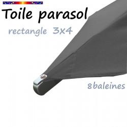 Toile Gris Flanelle pour parasol rectangle 3x4 : détail de la fixation -par vis- de la toile en bout de baleine