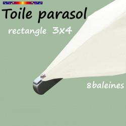 Toile Écru Crème pour parasol rectangle 3x4 : détail de la fixation de la toile en bout de baleine