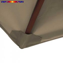 Toile polyester pour parasol carré 2x2 Gris Taupe : coté bas de la baleine