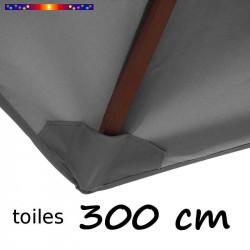 Toile de remplacement pour parasol 300 cm Gris Flanelle : fourreau de fixation en bas de la baleine