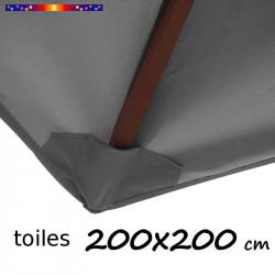 Toile Gris Flanelle pour parasol carré 2x2 : pochon de fixation coté bas de la baleine