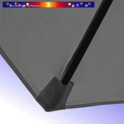 Parasol Lacanau Gris Flanelle 300 cm Bois : détail de la toile et de sa mise en place en bout de baleine