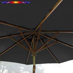Parasol Lacanau Gris Flanelle 300 cm Bois : système d'ouverture vue de dessous