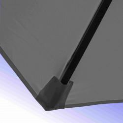 Parasol Lacanau Gris Flanelle 300 cm Bois Manivelle : détail du pochon de la toile pour fixation de la baleine