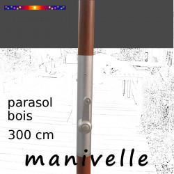 Parasol Lacanau Gris Flanelle 300 cm Bois Manivelle : détail de la manivelle