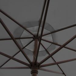 Parasol Lacanau Gris Flanelle 350 cm Bois Manivelle : détail de la manoeuvre par manivelle vu de dessous