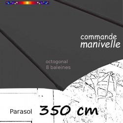 Parasol Lacanau Gris Flanelle 350 cm structure Bois : fourreau de la toile en bout de baleine