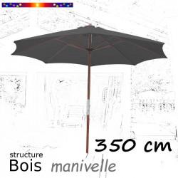 Parasol Lacanau Gris Flanelle 350 cm structure Bois et manœuvre par manivelle  de face et ouvert