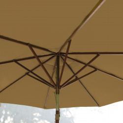 Parasol Lacanau Chamois 300 cm Bois : système d'ouverture vue de dessous