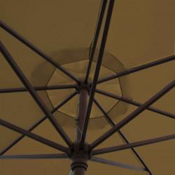Parasol Lacanau Chamois 350 cm Bois Manivelle : détail de la manœuvre par manivelle vu de dessous