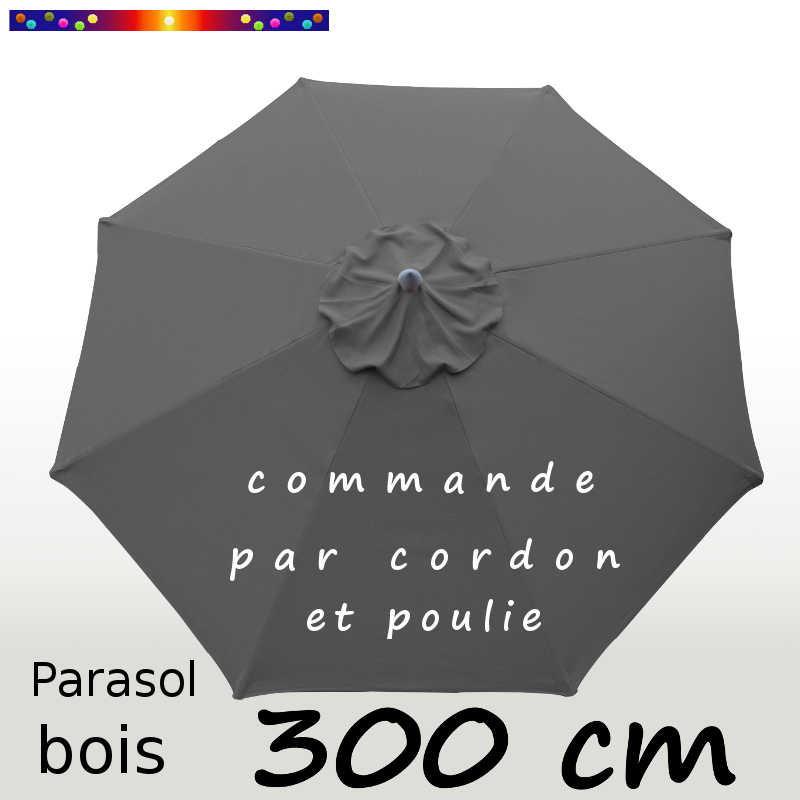 Parasol Lacanau Gris Flanelle 300 cm Bois : Toile vue de dessus