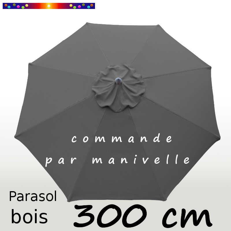 Parasol Lacanau Gris Flanelle 300 cm Bois Manivelle