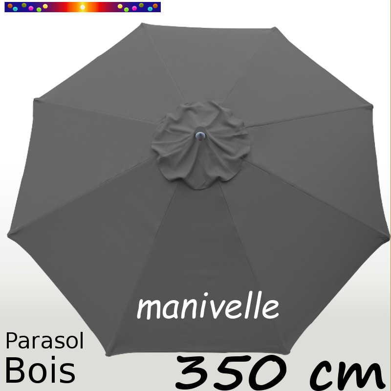 Parasol Lacanau Gris Flanelle 350 cm structure Bois et manœuvre par manivelle