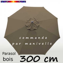 Parasol Lacanau Chamois 300 cm Bois Manivelle