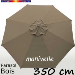 Parasol Lacanau Chamois 350 cm Bois structure Bois et manœuvre par manivelle