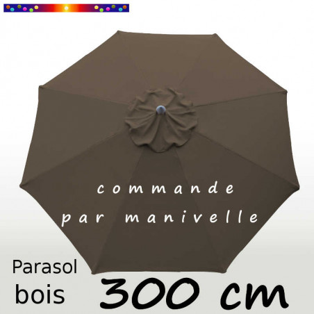Parasol Lacanau Taupe 300 cm Bois commande par manivelle