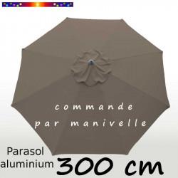 Parasol Lacanau rond (octogonal) Diamètre 300 cm en Aluminium à manœuvre par manivelle toile Gris Taupe : parasol vu de dessus