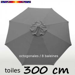Toile de remplacement pour parasol 300 cm Gris Flanelle : vue de dessus