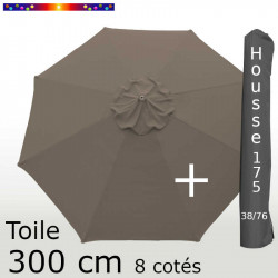 Pack : Toile 300/8 Chamois + Housse 175/38x76