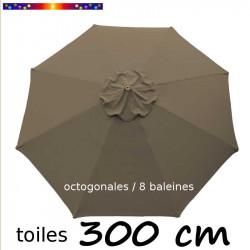 Toile de remplacement pour parasol Lacanau 300 cm couleur Chamois vue de dessus