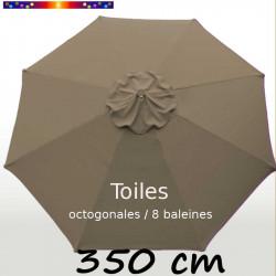 Toile Chamois pour parasol 350 cm octogonal :  vue de dessus