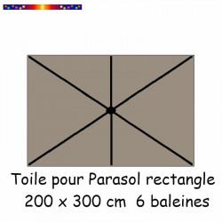 Toile de remplacement pour parasol rectangle 2x3 couleur Chamois : position des 6 baleines