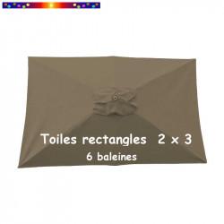 Toile de remplacement pour parasol rectangle 200x300 cm couleur Chamois :  vue de dessus