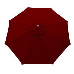 Parasol Lacanau rond (octogonal)Diamètre 300 cm en Aluminium à manœuvre par manivelle toile Rouge Bordeaux :parasol vu de dessus
