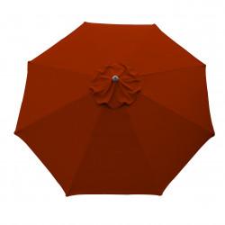 Parasol Lacanau rond (octogonal) Diamètre 300 cm en Aluminium à manœuvre manivelle toile Rouge Terracotta : parasol vu de dessus