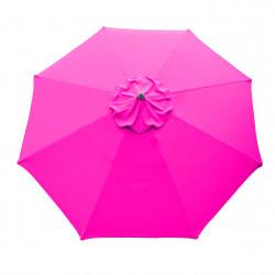Parasol Lacanau rond (octogonal) Diamètre 300 cm en Aluminium à manœuvre par manivelle toile Rose Fushia : parasol vu de dessus