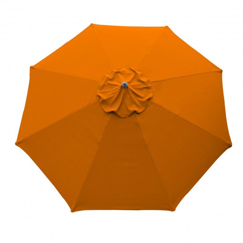 Parasol Lacanau rond (octogonal) Diamètre 300 cm en Aluminium à manœuvre par manivelle toile couleur Orange parasol vu de dessus