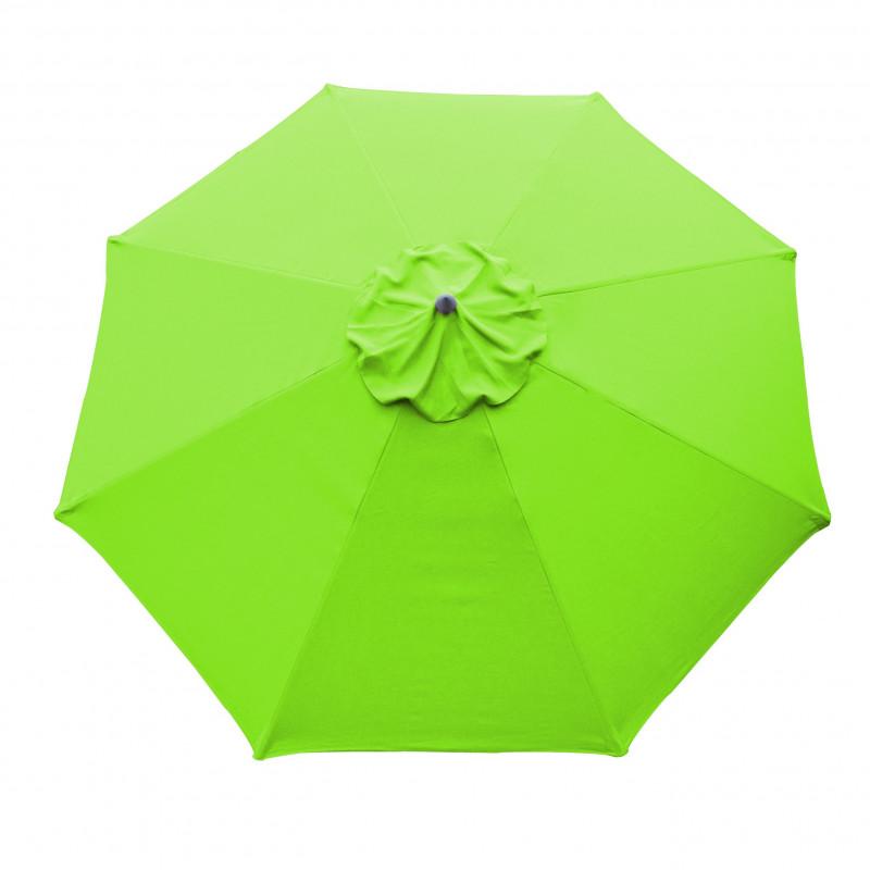 Parasol Lacanau rond (octogonal) Diamètre 300 cm en Aluminium à manœuvre par manivelle toile Vert Lime : parasol vu de dessus