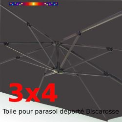 Toile de remplacement Rectangle 3x4 parasol déporté Gris