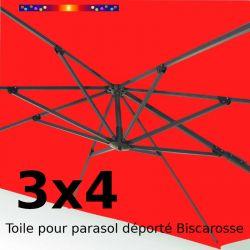 Toile de remplacement Rectangle 3x4 parasol déporté Rouge